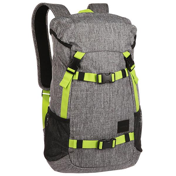 Рюкзак туристический Nixon Landlock Backpack Heather Gray/LimeФункциональные и качественные рюкзаки, с которыми Nixon путешествует по миру проверяя их. Будьте готовы подняться на новый уровень!Технические характеристики: Материал - полиэстер 600D, подкладка из нейлона 210D.Большое основное отделение.Отделение для ноутбука.Боковые карманы из сетки.Карман на клапане для медиа устройств.Скейтовые ремни.Мягкие лямки.Кожаная нашивка с логотипом.<br><br>Цвет: серый<br>Тип: Рюкзак туристический<br>Возраст: Взрослый