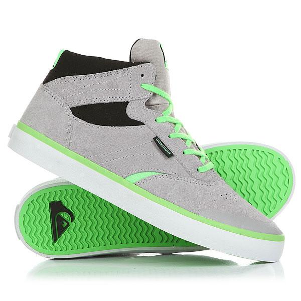Кеды кроссовки высокие детские Quiksilver Burc Mid Grey/Green кеды кроссовки низкие детские quiksilver beacon black black grey