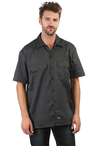 Рубашка Dickies Short Sleeve Work Shirt Charcoal Grey dickies рубашка утепленная dickies ryker shirt jacket fiery red