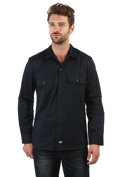 Рубашка Dickies Long Sleeve Slim Work Shirt Dark Navy