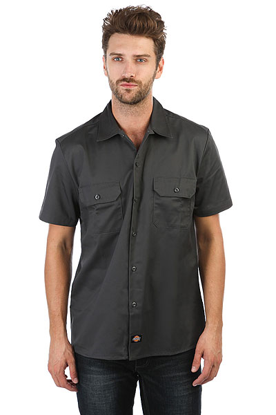 Рубашка Dickies Short Sleeve Slim Work Shirt Charcoal Grey dickies рубашка утепленная dickies ryker shirt jacket fiery red