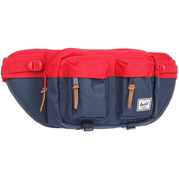 Сумка поясная Herschel Eighteen Navy/RedВместительная поясная сумка с двумя внешними карманами. Эта модель отличается своим объёмом, за счёт которого Вы всегда сможете взять собой чуть больше нужных вещей. Удобный поясной ремень позволяет носить сумку также через плечо, что несомненно оценят, например, любители велосипедных прогулок.Характеристики:Расширяемое основное отделение на молнии. 2 внешнихкармана на молнии. Регулируемый ремень с пряжкой.Фирменная полосатая подкладка. Молнии с деталями из кожи. Ярлычок с логотипом Herschel.<br><br>Цвет: Темно-синий,красный<br>Тип: Сумка поясная<br>Возраст: Взрослый<br>Пол: Мужской