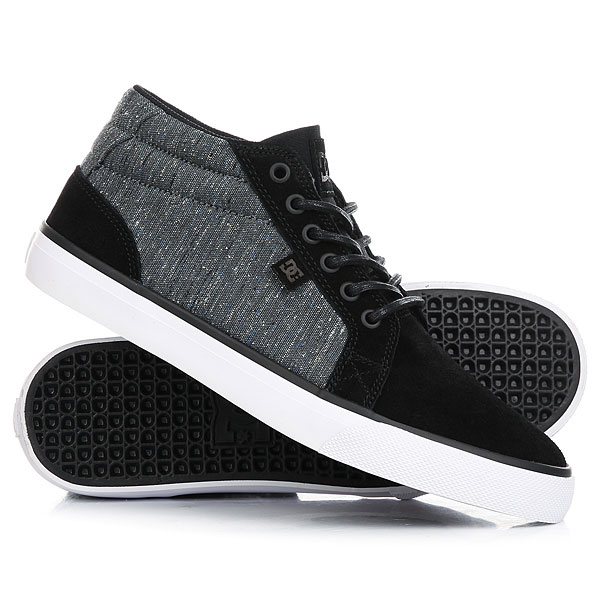 Кеды кроссовки высокие DC Council Mid Black/Armor/White dc shoes кеды dc council black cream 8 5