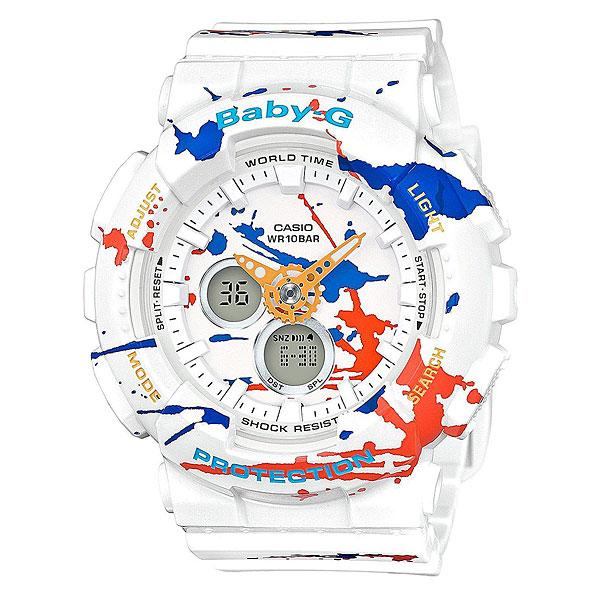 Кварцевые часы детские Casio G-Shock Baby-g Ba-120spl-7aУдаропрочные наручные часы из полимерного пластика. Удобные часы с необходимым функционалом, дополненные оригинальной графикой.Технические характеристики: Светодиодная подсветка.Мировое время (27 часовых зон).Секундомер точностью измерения 1/100 сек, запас измерения 1 час.Таймер обратного отсчета с функцией автоповтора - максимальное время установки 60 минут - шаг измерения 1/1 сек, минимальное время установки 1 минута.Будильник - до 5 независимых ежедневных сигналов.Ежечасный сигнал.Полностью автоматический календарь.12- и 24-часовой формат времени.Минеральное стекло.Корпус и ремешок из полимерного материала.Ударопрочная конструкция защищает от ударов и вибрации.Срок службы батареи – 2 года.<br><br>Цвет: мультиколор<br>Тип: Кварцевые часы<br>Возраст: Детский
