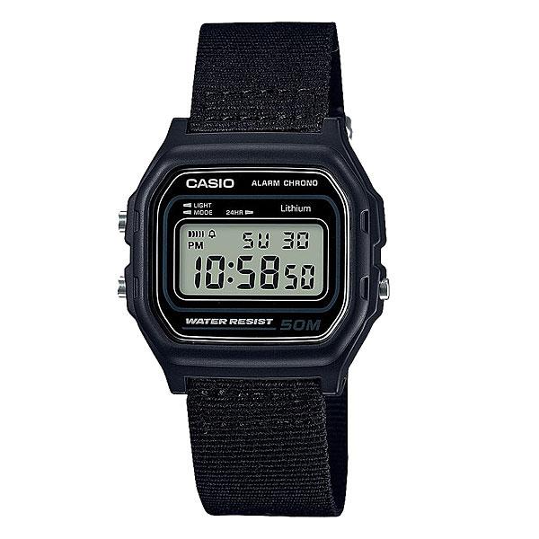 Электронные часы Casio Collection W-59b-1aКлассические электронные часы в корпусе из полимерного пластика.Технические характеристики: Микроподсветка.Функция секундомера - 1/100 сек. - 1 час.Ежедневный будильник.Автоматический календарь.12/24-часовое отображение времени.Корпус из полимерного пластика.Ремешок из ткани.Срок службы аккумулятора - 7 лет.<br><br>Цвет: черный<br>Тип: Электронные часы<br>Возраст: Взрослый<br>Пол: Мужской