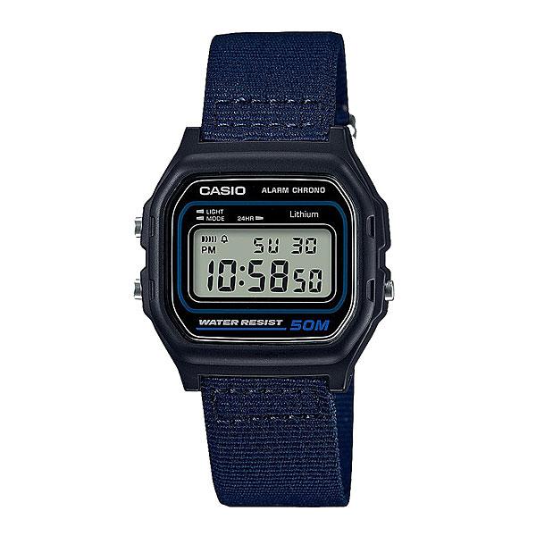 Электронные часы Casio Collection W-59b-2aКлассические электронные часы в корпусе из полимерного пластика.Технические характеристики: Микроподсветка.Функция секундомера - 1/100 сек. - 1 час.Ежедневный будильник.Автоматический календарь.12/24-часовое отображение времени.Корпус из полимерного пластика.Ремешок из ткани.Срок службы аккумулятора - 7 лет.<br><br>Цвет: Темно-синий<br>Тип: Электронные часы<br>Возраст: Взрослый<br>Пол: Мужской