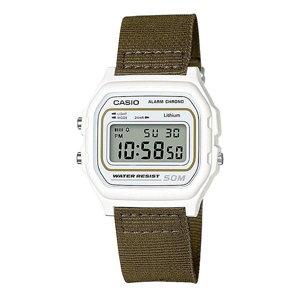 Электронные часы Casio Collection W-59b-3aКлассические электронные часы в корпусе из полимерного пластика.Технические характеристики: Микроподсветка.Функция секундомера - 1/100 сек. - 1 час.Ежедневный будильник.Автоматический календарь.12/24-часовое отображение времени.Корпус из полимерного пластика.Ремешок из ткани.Срок службы аккумулятора - 7 лет.<br><br>Цвет: зеленый,белый<br>Тип: Электронные часы<br>Возраст: Взрослый<br>Пол: Мужской