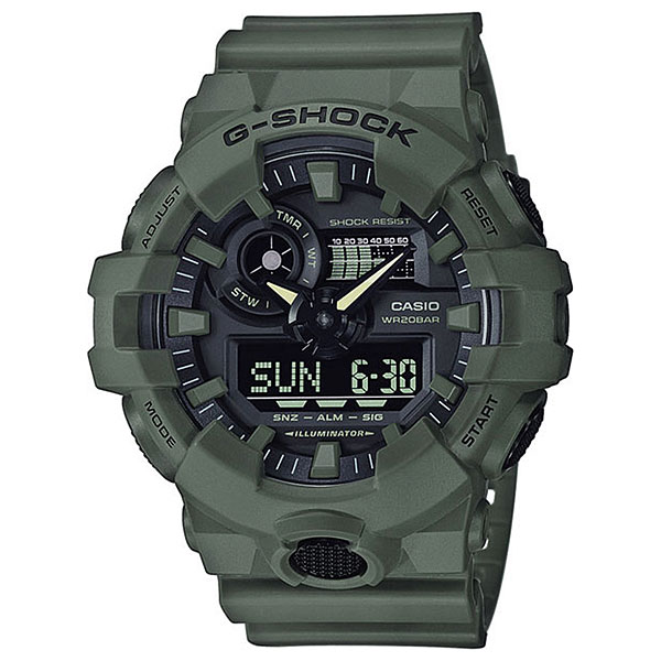 Кварцевые часы Casio G-Shock 68043 Ga-700uc-3aФункциональные часы в ударопрочном корпусе из полимерного пластика, а высокий уровень водонепроницаемости делает эту модель идеальной для ныряния без акваланга.Технические характеристики: Яркая подсветка.Ударопрочная конструкция защищает от ударов и вибрации.Функция мирового времени.Функция секундомера- 1/100 сек. - 24 часа.Таймер - 1/1 мин. - 1 час.5 ежедневных будильников.Функция повтора будильника.Включение/выключение звука кнопок.Функция перемещения стрелок.Автоматический календарь.12/24-часовое отображение времени.Минеральное стекло.Корпус из полимерного пластика.Ремешок из полимерного материала.Срок службы аккумулятора - 5 лет.<br><br>Цвет: зеленый<br>Тип: Кварцевые часы<br>Возраст: Взрослый<br>Пол: Мужской