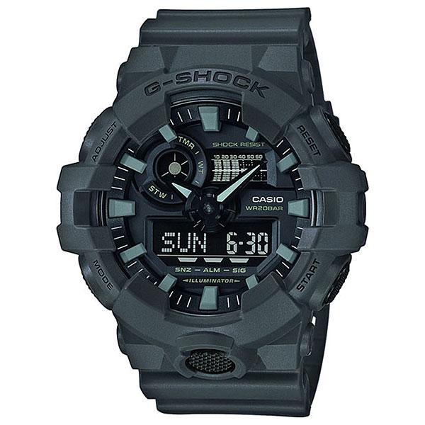 Кварцевые часы Casio G-Shock 68045 Ga-700uc-8aФункциональные часы в ударопрочном корпусе из полимерного пластика, а высокий уровень водонепроницаемости делает эту модель идеальной для ныряния без акваланга.Технические характеристики: Яркая подсветка.Ударопрочная конструкция защищает от ударов и вибрации.Функция мирового времени.Функция секундомера- 1/100 сек. - 24 часа.Таймер - 1/1 мин. - 1 час.5 ежедневных будильников.Функция повтора будильника.Включение/выключение звука кнопок.Функция перемещения стрелок.Автоматический календарь.12/24-часовое отображение времени.Минеральное стекло.Корпус из полимерного пластика.Ремешок из полимерного материала.Срок службы аккумулятора - 5 лет.<br><br>Цвет: Темно-серый<br>Тип: Кварцевые часы<br>Возраст: Взрослый<br>Пол: Мужской