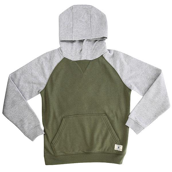Толстовка кенгуру детская DC Rebel Raglan Vintage<br><br>Цвет: серый,зеленый<br>Тип: Толстовка кенгуру<br>Возраст: Детский