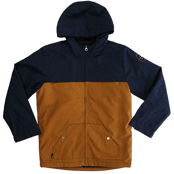 Куртка детская Quiksilver Wannadwryouth Navy BlazerДетская куртка Wanna с DWR обработкой.Технические характеристики: Ткань с DWR обработкой.Теплая подкладка из шерпы.Регулируемые манжеты на липучках.Карманы для рук на кнопках, потайной карман.Застежка на металлическую молнию.<br><br>Цвет: синий,коричневый<br>Тип: Куртка<br>Возраст: Детский