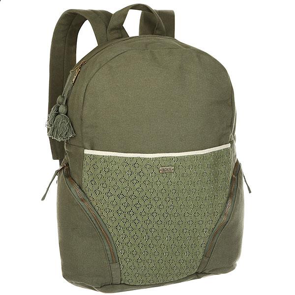 Рюкзак женский Roxy Bombora Dusty OliveБольшой рюкзак Bombora. Характеристики:Изготовлен из парусины. Передний карман на шнуровке. Нашивка из натуральной кожи с логотипом.Два боковых кармана на молнии.<br><br>Цвет: зеленый<br>Тип: Рюкзак<br>Возраст: Взрослый<br>Пол: Женский