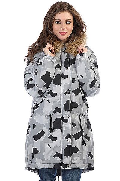 Куртка парка женская Extra Wind Cave CamoУтепленная городская куртка с контрастным принтом в стиле милитари.Технические характеристики: Подкладка - полиэстер.Капюшон с меховой отделкой.Эластичные манжеты.Карманы для рук.Регулировка талии.Подол рыбий хвост на утяжке.Ветрозащитный клапан на кнопках.<br><br>Цвет: серый,черный<br>Тип: Куртка парка<br>Возраст: Взрослый<br>Пол: Женский