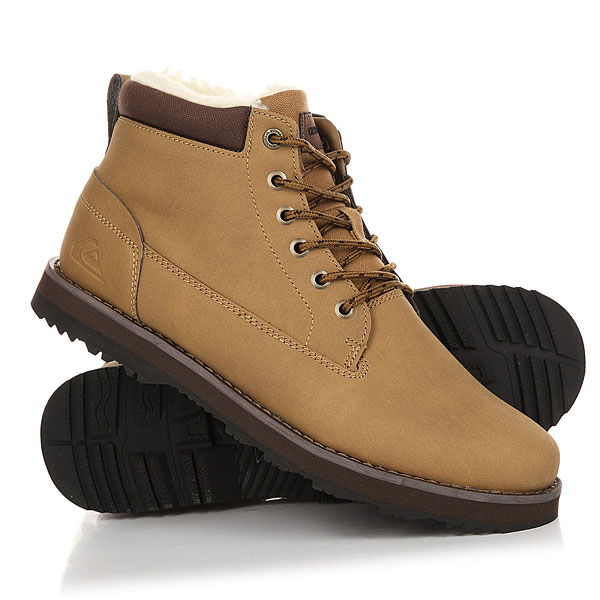 Ботинки зимние Quiksilver Mission Boot TanДумаем не нужно говорить, насколько важно правильно подобрать одежду в зимний сезон. Ведь количество необходимых характеристик сильно увеличивается по сравнению с летним сезоном. Поэтому рекомендуем Вам обратить внимание на ботинкиQuiksilver Mission. Теплые и комфортные благодаря полностью кожаному верху, мягкой подкладке из шерпы и цепкой подошве из каучука, они согреют Вас даже в самый сильный мороз, а фирменный логотип сбоку будет напоминать, что после зимы всегда приходит лето.Характеристики:Верх из натуральной кожи. Износостойкая подошва с цепким протектором. Нашивка с логотипом на язычке. Верхние люверсы для шнурков с логотипом. Тёплая подкладка из шерпа-флиса для тепла и комфорта.<br><br>Цвет: Светло-коричневый<br>Тип: Ботинки зимние<br>Возраст: Взрослый<br>Пол: Мужской