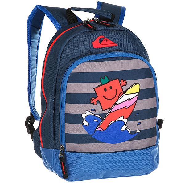Рюкзак школьный детский Quiksilver Mrstrongchompbo Dark DenimШкольный рюкзак среднего размера Mr Strong Chompine.Технические характеристики: Одно основное отделение на молнии.Карман на молнии.Эргономичные набивные заплечные лямки и спинка.Ручка для переноски.Логотип и яркий принт.<br><br>Цвет: синий<br>Тип: Рюкзак школьный<br>Возраст: Детский
