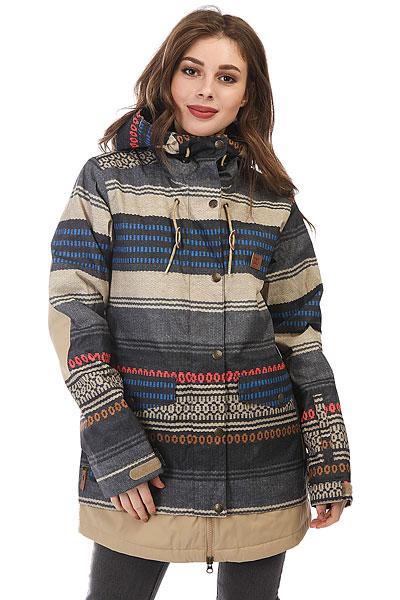 Куртка утепленная женская DC Riji Poncho StripeСноубордическая куртка DCRiji станет Вашим отличным спутником на любом рельефе - водостойкая и паропроницаемая верхняя ткань10K DC WEATHER DEFENSE в сочетании с утеплителем и удобными эластичными манжетами защитит Вас от холода в самые снежные дни, а внутренний медиа-карман позволит наслаждаться любимой музыкой во время катания.Характеристики:Удлиненный крой. Утеплитель: туловище - 80 г, рукава - 40 г. Подкладкаиз тафты. Полностью проклеенные швы. Вентиляция подмышками. Два нагрудных кармана на молнии. Внутренний сетчатый карман для маски. Внутренний медиа-карман на молнии. Система крепления куртки к штанам.Карман на рукаве. Регулируемый в двух направлениях капюшон.Регулируемые на липучке манжеты. Снегозащитная юбка с эластичной вставкой из лайкры. Утягивающийся подол. Два кармана для рук с клапанами.<br><br>Цвет: мультиколор<br>Тип: Куртка утепленная<br>Возраст: Взрослый<br>Пол: Женский