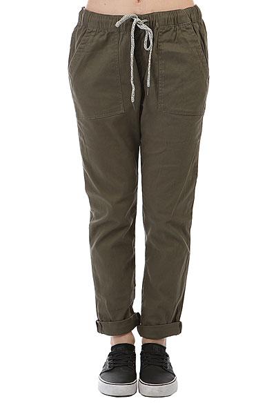 Штаны прямые женские Roxy Dudepant Dusty Olive<br><br>Цвет: зеленый<br>Тип: Штаны прямые<br>Возраст: Взрослый<br>Пол: Женский