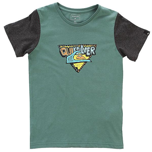 Футболка детская Quiksilver Ssclateboysuper Silver Pine<br><br>Цвет: зеленый,серый<br>Тип: Футболка<br>Возраст: Детский