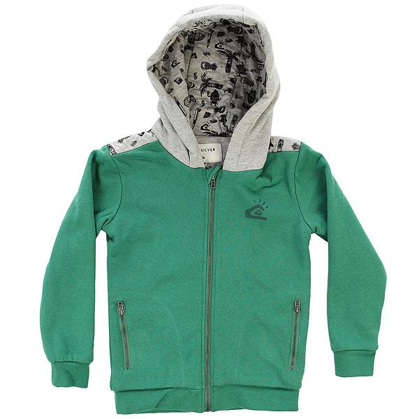 Толстовка классическая детскаяQuiksilver Mindonflezipboy K Fir<br><br>Цвет: зеленый,серый<br>Тип: Толстовка классическая<br>Возраст: Детский