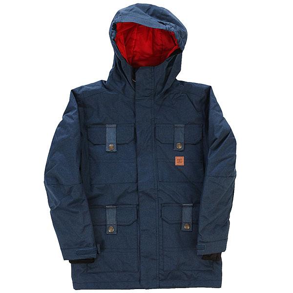 Куртка утепленная детская DC Servo Youth Jkt Insignia BlueСтильная и технологичная сноубордическая куртка для Вашего ребенка. Она обеспечит комфорт при катании в любых условиях, защитит от промокания и сохранит тепло. Ну а проверенное годами качество фирмы DC позволит наслаждаться этой курткой не один сезон.Характеристики:Влагостойкая ткань Exotex 10K (10 000 мм. / 10 000 г.). Утеплитель 120 г тело и 80 г рукава. Классический крой. Проклеенные критические швы. Подкладка из тафты. Сетчатые карманы для вентиляции.Снегозащитная юбка. Эластичная манжета капюшона. Внутренние манжеты из лайкры. Регулируемые манжеты на липучке. Карман на молнии на рукаве для ски-пасса. Нагрудные карманы на кнопках. Передние карманы на кнопках сверху и на молнии сбоку. Перекрестные швы на спине. Внутренний сетчатый карман.Медиа-карман.<br><br>Цвет: синий<br>Тип: Куртка утепленная<br>Возраст: Детский