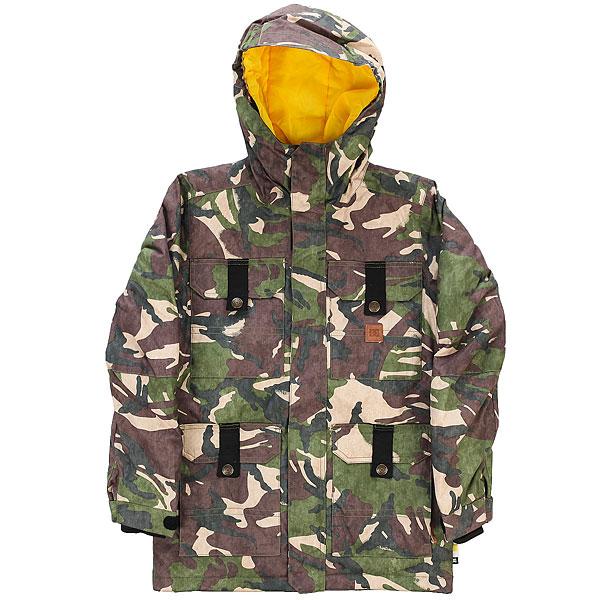 Куртка утепленная детская DC Servo Youth Jkt British Woodland CamСтильная и технологичная сноубордическая куртка для Вашего ребенка. Она обеспечит комфорт при катании в любых условиях, защитит от промокания и сохранит тепло. Ну а проверенное годами качество фирмы DC позволит наслаждаться этой курткой не один сезон.Характеристики:Влагостойкая ткань Exotex 10K (10 000 мм. / 10 000 г.). Утеплитель 120 г тело и 80 г рукава. Классический крой. Проклеенные критические швы. Подкладка из тафты. Сетчатые карманы для вентиляции.Снегозащитная юбка. Эластичная манжета капюшона. Внутренние манжеты из лайкры. Регулируемые манжеты на липучке. Карман на молнии на рукаве для ски-пасса. Нагрудные карманы на кнопках. Передние карманы на кнопках сверху и на молнии сбоку. Перекрестные швы на спине. Внутренний сетчатый карман.Медиа-карман.<br><br>Цвет: зеленый,коричневый,бежевый<br>Тип: Куртка утепленная<br>Возраст: Детский