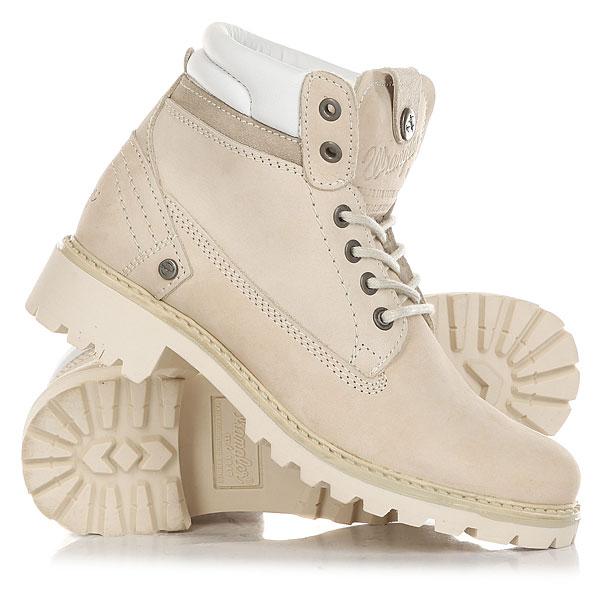 Ботинки зимние женские Wrangler Creek Nubuck Fur CreamОтличные женские ботинки от Wrangler. Вы можете носить данную модель ранней весной, осенью и зимой. Не взирая на погодные условия, Вы можете наслаждаться как городскими индустриальными пейзажами, так прохладными вечерами вдали от города.Характеристики:Верх из нубука. Утепленная внутренняя отделка из искусственного меха. Цельнокроеный носок. Усиленный смягченный манжет с кожаной окантовкой.Классическая круглая шнуровка с тонированными люверсами.Широкий массивный язычок с тиснением. Цепкая прошитая подошва с невысоким каблуком и абразивным протектором.<br><br>Цвет: бежевый<br>Тип: Ботинки зимние<br>Возраст: Взрослый<br>Пол: Женский