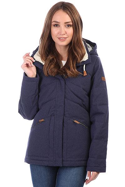 Куртка зимняя женская Roxy Nancy PeacoatТеплая куртка с наполнителемWarmflight®, обладающим свойствами пуха, но не требующим такого тщательного ухода. Универсальный крой позволит сочетать Roxy Nancy как со сноубутсами, так и с утепленными кедами, а приятная съемная подкладка ворота из шерпа-флиса не только добавит уюта, но и защитит от сильного промозглого ветра.Характеристики:Съемный капюшон на шнурке.УтеплительWarmflight®, обладающий свойствами пуха (600 fill power, 380 г).Съемная подкладка из шерпа-флиса на воротнике. Два кармана для рук.<br><br>Цвет: синий<br>Тип: Куртка зимняя<br>Возраст: Взрослый<br>Пол: Женский