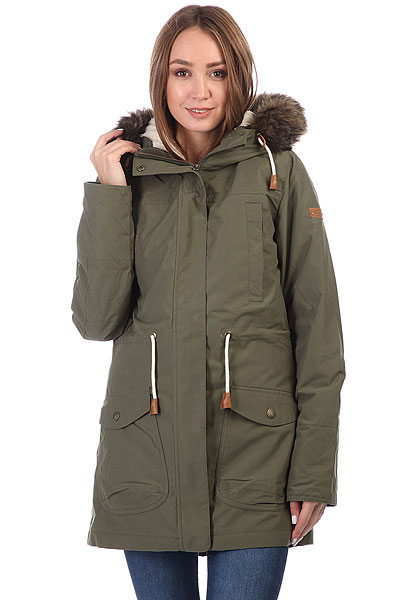 Куртка парка женская Roxy Amy 3n1 Dust IvyС этой стильной и удобной паркой от Roxy холодная погода уже не кажется таким уж большим минусом. Длинная, теплая и комфортная, она поможет Вам пережить капризы погоды намного проще, чем раньше. Объемный капюшон с оторочкой из искусственного меха, несколько карманов, мембранная ткань, не пропускающая влагу внутрь и быстро выводящая ее наружу, подкладка из флиса шерпа и утеплитель Warmflight® - она со всех сторон готова к морозу!Характеристики:Классический крой. Мембрана ROXY DryFlight® 10K. Материал: синтетическая саржа. Внешний шелл в сочетании с мягкой подкладкой из шамбре. Утеплитель: Warmflight® (60 г). Подкладка из шерпы.Объемный капюшон со шнурком-утяжкой и съемной оторочкой из искусственного меха. Два кармана для рук. Два нагрудных кармана. Регулировка талии.Скругленная линия подола.<br><br>Цвет: зеленый<br>Тип: Куртка парка<br>Возраст: Взрослый<br>Пол: Женский