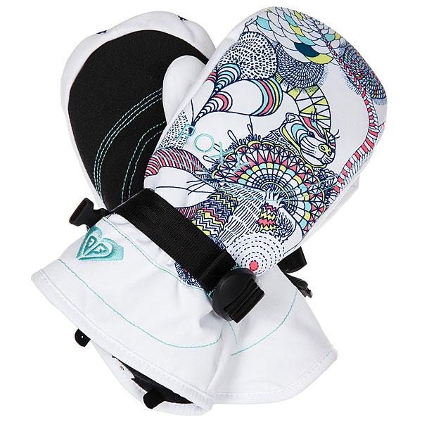Варежки сноубордические детские Roxy Jett Gir Mitt Bright White hackney варежки женские roxy victoria mitt hawaian ocean