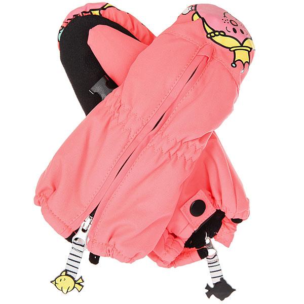 Варежки сноубордические детские Roxy Snowsup Little Neon Grapefruit варежки сноубордические детские roxy jett gir mitt bright white hackney