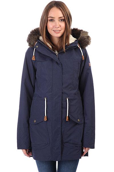 Куртка парка женская Roxy Amy 3n1 PeacoatС этой стильной и удобной паркой от Roxy холодная погода уже не кажется таким уж большим минусом. Длинная, теплая и комфортная, она поможет Вам пережить капризы погоды намного проще, чем раньше. Объемный капюшон с оторочкой из искусственного меха, несколько карманов, мембранная ткань, не пропускающая влагу внутрь и быстро выводящая ее наружу, подкладка из флиса шерпа и утеплитель Warmflight® - она со всех сторон готова к морозу!Характеристики:Классический крой. Мембрана ROXY DryFlight® 10K. Материал: синтетическая саржа. Внешний шелл в сочетании с мягкой подкладкой из шамбре. Утеплитель: Warmflight® (60 г). Подкладка из шерпы.Объемный капюшон со шнурком-утяжкой и съемной оторочкой из искусственного меха. Два кармана для рук. Два нагрудных кармана. Регулировка талии.Скругленная линия подола.<br><br>Цвет: синий<br>Тип: Куртка парка<br>Возраст: Взрослый<br>Пол: Женский