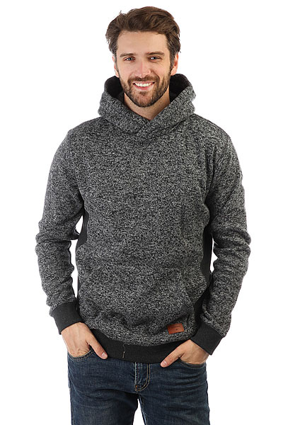 Толстовка кенгуру Quiksilver Kellerhood Dark Grey Heather толстовка кенгуру quiksilver keller hood wild ginger