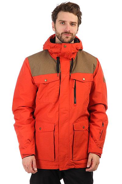 Куртка утепленная Quiksilver Raft Ketchup RedСноубордическая куртка Raft.Характеристики:Мембрана:водостойкая 10K Quiksilver DryFlight®.Материал:полиэстер кареточного плетения Repreve® из переработанной синтетики (плечи) + синтетический оксфорд (основной). Крой:современный (modern).Утеплитель:наполнитель Warmflight® Insulation (тело — 80 г, рукава и капюшон — 60 г). Подкладка:тафта с тиснением, фланель с начесом и трикотажная подкладка с начесом. Карабин для ключей. Основные швы проклеены. Капюшоноснащен тремя регулировками. Противоснежная юбка:не отстегивается + застегивается на кнопки.Система пристегивания:куртку и штаны можно пристегнуть друг к другу.Внутренние карманы для скипасса, катальной маски и медиаустройств.Сеточные вставки под мышками. Гейтеры из лайкры.<br><br>Цвет: оранжевый<br>Тип: Куртка утепленная<br>Возраст: Взрослый<br>Пол: Мужской