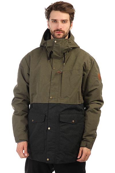 Куртка утепленная Quiksilver Horizon Grape LeafКоллекция NEW WAVE: горных технологии в сочетании с серфовым стилем. Когда морская волна разбивается о горные хребты, рождаются новые волны, и коллекция New Wave посвящена именно этому. Самые прогрессивные фасоны и крутые принты, солнечный серфовый характер и новейшие текстильные технологии — все это вместе превращается новый уровень катальной экипировки для райдеров нового поколения. Для вас, скорее всего! Характеристики:Нейлоновая саржа. Утеплитель 3M® Thinsulate® Type M (40 г). Подкладка из тафты и шамбре со вставками из трикотажа с начесом. Полностью проклеенные швы. Сеточные вставки подмышками для вентиляции. Система пристегивания куртки к штанам. Медиакарман. Внутренний карман для маски. Ткань для протирки фильтра маски внутри одного из карманов.Съемная противоснежная юбка из тафты с добавлением лайкры.Брелок для ключей.<br><br>Цвет: зеленый,черный<br>Тип: Куртка утепленная<br>Возраст: Взрослый<br>Пол: Мужской