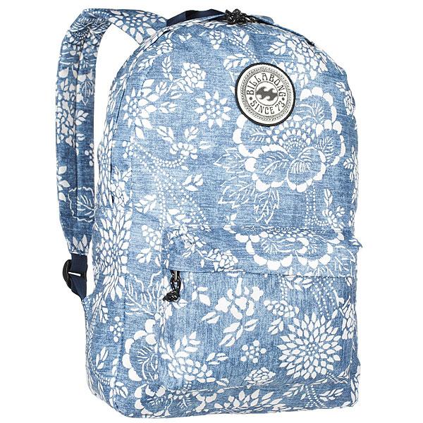 Рюкзак городской женский Billabong All Day IndigoПрактичный рюкзак, который станет Вашим верным спутником в городских прогулках. Его объем позволит вместить множество вещей, необходимых в течение дня, а внешний карман поможет держать самые нужные мелочи в быстром доступе. Высококачественный материал гарантирует долговечность и сохранение свежего внешнего вида, а оригинальные цветовые решения делают этот рюкзак ещё и прекрасным дополнением Вашего образа.Характеристики:Вместительное основное отделение. Внешний карман на молнии. Регулируемые эргономичные лямки. Мягкая спинка. Удобная петля для переноски. Нашивка с фирменным логотипом Billabong.<br><br>Цвет: синий,белый<br>Тип: Рюкзак городской<br>Возраст: Взрослый<br>Пол: Женский