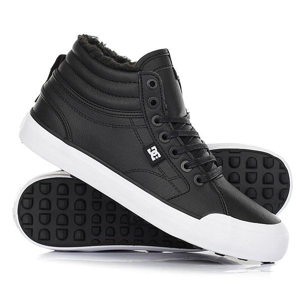 Кеды кроссовки зимние женские DC Shoes Evan Hi Wnt Black/White/Black кеды кроссовки высокие женские dc evan hi tx se denim