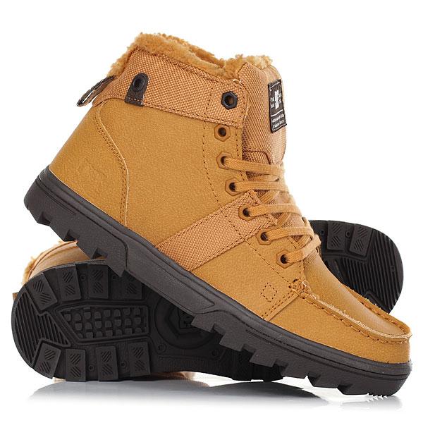Ботинки зимние женские DC Shoes Woodland WheatЖенские ботинки Woodland - идеальный выбор на зимний сезон. Верх выполнен из искусственной кожи, подкладка из шерпы обеспечит тепло и комфорт на протяжении всего дня, а гибкая подошва с цепким протектором подарят уверенность в каждом шаге.WOODLAND - простота и высокий уровень технологичности.Характеристики:Верх из искусственной кожи.Подкладка из шерпы. Мыс в стиле классических мокасин. Классическая шнуровка. Петля на пятке для удобства надевания. Цепкая подошва.Выраженный рисунок протектора. Логотип на язычке и сбоку.<br><br>Цвет: Темно-желтый<br>Тип: Ботинки зимние<br>Возраст: Взрослый<br>Пол: Женский