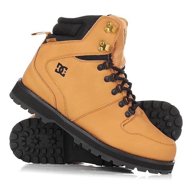 Ботинки высокие DC Peary Wheat/BlackDC Peary - надежные ботинки на прочной резиновой подошве с выраженным протектором. Основательный силуэт, усиленные область пятки и носа, а также прочная кожа с влагостойкой обработкой делают эти ботинки идеальным решением для промозглой слякотной погоды, позволяя составить стильный городской лук, наполненный комфортом и уютом.Характеристики:Металлические крючки и петли шнуровки. Усиленная пятка и нос. Манжета ботинка и часть язычка из прочной тканиCORDURA®.Наполненные вспененным материалом манжета и язычок ботинка для комфорта. Фирменный логотип на язычке и сбоку ботинка. Цепкий выраженный протектор. Стелька из вспененного материала EVA. Единая конструкция ботинка и язычка для предотвращения попадания внутрь снега. Износостойкая резиновая подошва. Влагоотталкивающая обработка поверхности.<br><br>Цвет: коричневый<br>Тип: Ботинки высокие<br>Возраст: Взрослый<br>Пол: Мужской