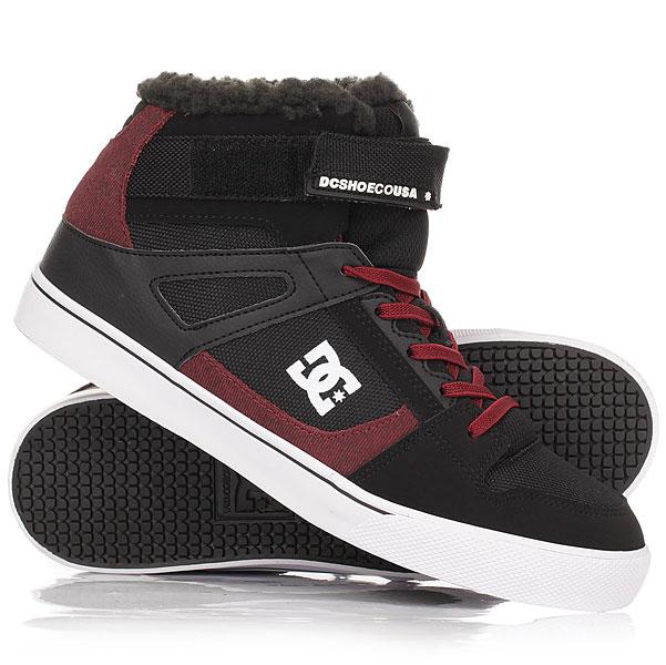 Кеды кроссовки зимние детские DC Shoes Spartan Hi Wnt Black/Dark RedВысокие утепленные мягким шерпа-флисом кеды, созданные для прохладной погоды и морозов, которые Вы собираетесь провести серди активной городской среды. DC Spartan High - это классический силуэт в превосходном исполнении, дополненный стильной шнуровкой с металлическими крючками и пластиковыми люверсами шнуровки, как правило присущими демисезонным ботинкам для визуального утяжеления конструкции. Гибкая подошва обеспечит комфортную ходьбу, а вспененная область язычка и манжеты добавит дополнительной поддержки. Характеристики:Вспененная область манжеты и язычка для поддержки. Пластиковые и металлические люверсы шнуровки.Металлические верхние крючки шнуровки. Нашивка с фирменным логотипом на язычке. Металлический фирменный логотип сбоку ботинка. Перфорация на носу для вентиляции. Два люверса вентиляции с внутренней стороны ботинка. Гибкая резиновая подошва. Цепкий фирменный протектор Pill Pattern. Мягкая и теплая подкладка из шерпа-флиса.<br><br>Цвет: черный,бордовый<br>Тип: Кеды зимние<br>Возраст: Детский