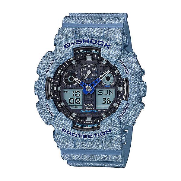 Кварцевые часы Casio G-Shock ga-100de-2aМногофункциональные наручные часы в прочном корпусе из полимерного пластика созданы для активного образа жизни. Качественные материалы, расширенный набор опций и спортивный дизайн.Технические характеристики: Автоматическая светодиодная подсветка.Ударопрочная конструкция защищает от ударов и вибрации.Устойчивость к воздействию магнитного поля.Функция мирового времени.Функция секундомера - 1/1000 сек. - 100 часов.Таймер - 1/1 мин. - 24 часа (с автоматическим повтором).5 ежедневных будильников.Функция повтора будильника.Отображение скорости.Автоматический календарь.12/24-часовое отображение времени.Минеральное стекло.Корпус из полимерного пластика.Ремешок из полимерного материала.Срок службы аккумулятора - 2 года.<br><br>Цвет: синий<br>Тип: Кварцевые часы<br>Возраст: Взрослый<br>Пол: Мужской