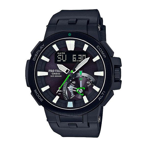 Кварцевые часы Casio Sport prw-7000-1aМультифункциональные наручные часы, которые отличаются не только стильным и сдержанным дизайном, но и достаточно широким набором опций. Часы, созданные для работы, путешествий и активного отдыха.Технические характеристики: Двойная электролюминесцентная подсветка.Устойчивый к низким температурам (-10 °C).Солнечная батарейка.Прием радиосигнала (Европа, США, Япония, Китай).Неоновый дисплей.Барометр (260 / 1.100 гПа).Термометр (-10°C / +60°C).Цифровой компас.Высотометр 10,000 м.Датчик приливов и отливов.Таймер рыбалки.Память данных высотометра.График набора высоты.Данные о восходе/закате солнца.Функция мирового времени.Функция секундомера- 1/100 сек. - 24 часа.Таймер - 1/1 сек. - 1 час.5 ежедневных будильников.Автоматическая ручная настройка.Включение/выключение звука кнопок.Функция перемещения стрелок.Технология Smart Access - часы быстро и интуитивно просто настраиваются с помощью электронного штифта.Автоматический календарь.12/24-часовое отображение времени.Сапфировое стекло.Корпус из нержавеющей стали и полимерного пластика.Ремешок из карбона и полимерного материала.Индикатор уровня заряда батарейки.<br><br>Цвет: черный<br>Тип: Кварцевые часы<br>Возраст: Взрослый<br>Пол: Мужской
