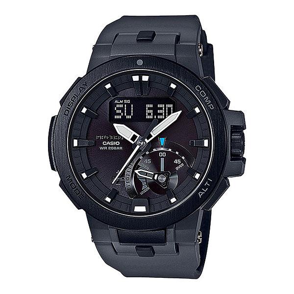 Кварцевые часы Casio Sport prw-7000-8eМультифункциональные наручные часы, которые отличаются не только стильным и сдержанным дизайном, но и достаточно широким набором опций. Часы, созданные для работы, путешествий и активного отдыха.Технические характеристики: Двойная электролюминесцентная подсветка.Устойчивый к низким температурам (-10 °C).Солнечная батарейка.Прием радиосигнала (Европа, США, Япония, Китай).Неоновый дисплей.Барометр (260 / 1.100 гПа).Термометр (-10°C / +60°C).Цифровой компас.Высотометр 10,000 м.Датчик приливов и отливов.Таймер рыбалки.Память данных высотометра.График набора высоты.Данные о восходе/закате солнца.Функция мирового времени.Функция секундомера- 1/100 сек. - 24 часа.Таймер - 1/1 сек. - 1 час.5 ежедневных будильников.Автоматическая ручная настройка.Включение/выключение звука кнопок.Функция перемещения стрелок.Технология Smart Access - часы быстро и интуитивно просто настраиваются с помощью электронного штифта.Автоматический календарь.12/24-часовое отображение времени.Сапфировое стекло.Корпус из нержавеющей стали и полимерного пластика.Ремешок из карбона и полимерного материала.Индикатор уровня заряда батарейки.<br><br>Цвет: черный<br>Тип: Кварцевые часы<br>Возраст: Взрослый<br>Пол: Мужской