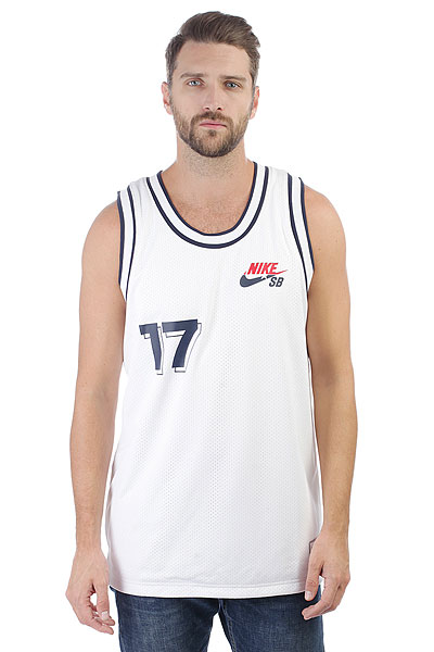 Футболка Nike SB JERSEY COURT WHITE/OBSIDIAN<br><br>Цвет: белый<br>Тип: Футболка<br>Возраст: Взрослый<br>Пол: Мужской