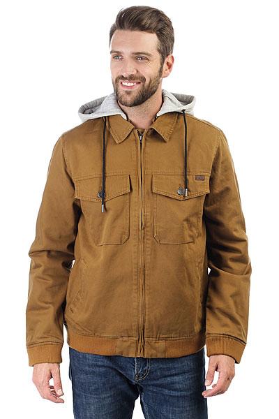 Куртка Billabong Barlow Twill TobaccoКачественная куртка в современном дизайне. Обновленная модель из коллекции Surfplus.Технические характеристики: Прочный хлопок.Стеганая подкладка из тафты с легким утеплителем.Удобный капюшон из флиса.Нагрудные карманы, карманы для рук и потайной карман.Скрытая застежка на молнию.<br><br>Цвет: коричневый<br>Тип: Куртка<br>Возраст: Взрослый<br>Пол: Мужской
