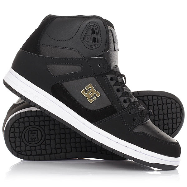 Кеды кроссовки высокие женские DC Rebound High Se Black/Gold dc shoes кеды dc shoes rebound high tx se chambray fw17 5