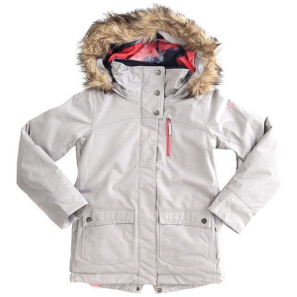 Куртка утепленная детская Roxy Tribe Girl Heritage HeatherЭта куртка от Roxy под завязку наполнена технологиями. Наверное, проще перечислить, чего в ней нет, чем озвучивать длинный список (его можно посмотреть ниже) всех опций, которые в ней присутствуют. Скажем проще: перед Вами практически идеальная зимняя куртка, в которой есть вообще всё то, чего обычно не хватает. Начиная от удлиненного кроя, проклеенных швов и супер-легкого утеплителя Thinsulate™ Type M и заканчивая отдельным гейтором, системой пристегивания куртки к штанам и множеством карманов для всего. Прекрасный вариант, который будет радовать Вас много сезонов подряд как в горах, так и в городе.Характеристики:Удлиненный приталенный крой.Мембрана: водостойкая 15K ROXY DryFlight®.Материал: саржа из полиэстера и нейлона. Подкладка из легкой тафты из переработанного полиэстера + фактурная тафта и трикотаж с начесом. Утеплитель: наполнитель Thinsulate™ Type M (тело — 60 г, рукава и капюшон — 40 г). Мягкая защита подбородка.Объемный контурный капюшон с тремя вариантами регулировки.Утеплитель для шеи из косметотекстиля ROXY ENJOY &amp; CARE.Проклеенные в критических местах швы. Юбка для защиты от снега.Карабин для ключей. Система пристегивания штанов к куртке.Застегивается на молнию по всей длине. Два кармана для рук с доступом на молнии. Два прорезных кармана на груди с доступом на молнии.Внутренний медиа-карман. Сетчатый карман для маски. Карман на рукаве для ски-паса. Регулируемые манжеты. Вентиляция подмышками.Гейтеры из лайкры с удобной системой утепления пальцев + небольшая удобная вставка в манжете.<br><br>Цвет: серый<br>Тип: Куртка утепленная<br>Возраст: Детский