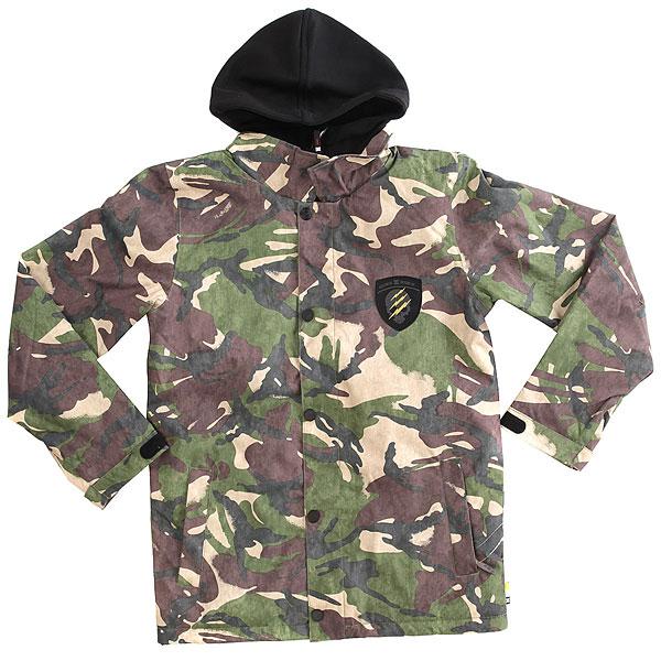 Куртка утепленная детская DC Cash Only British Woodland CamКлассическая «тренерская» куртка из технологичного материала от DC станет настоящей находкой для тех, кто ценит комфорт, технологичность и стиль. Водостойкая мембранная ткань 10K DC WEATHER DEFENSE, удобный капюшон,подкладка из тафты обеспечат базовый уровень тепла. Одного этого хватит, чтобы Вы не замерзли и не промокли.Простая, но в то же время функциональная куртка станет надежным спутником как на склоне, так и в городе.Характеристики:Мембрана:водостойкая 10K DC WEATHER DEFENSE. Материал:полиэстер кареточного плетения (основной) + нетканый полиэстер с водоотталкивающей пропиткой DWR (капюшон). Стандартный крой (regular).Подкладкатафта. Рукава составного кроя. Все основные швы проклеены.Капюшон на утяжке. Фиксированная короткая юбка-гейтер. Система пристегивания куртки к штанам. Карман для ски-пасса на липучке на рукаве.Внутренний потайной карман и дополнительные карманы на липучке.Утепленные карманы на молнии для рук. Регулируемые манжеты.Нашивка с фирменным логотипом.<br><br>Цвет: мультиколор<br>Тип: Куртка утепленная<br>Возраст: Детский