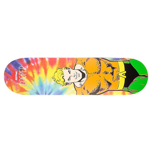 Дека для скейтборда для скейтборда Almost Cooper Aquaman Tiedye 31.7 x 8.25 (21 см)Ширина деки: 8.25 (21 см)    Длина деки: 31.7 (80.5 см)    Количество слоев: 7<br><br>Цвет: мультиколор<br>Тип: Дека для скейтборда<br>Возраст: Взрослый<br>Пол: Мужской