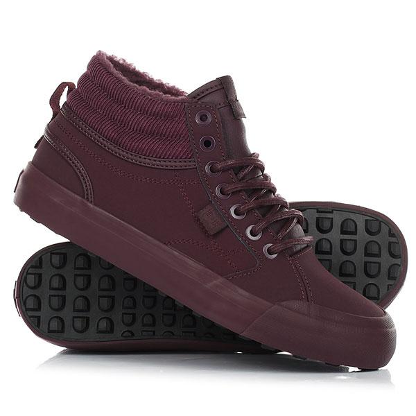 Кеды кроссовки зимние женские DC Evan Hi Wnt Maroon кеды кроссовки зимние женские dc shoes rebound hi wnt brown chocolate