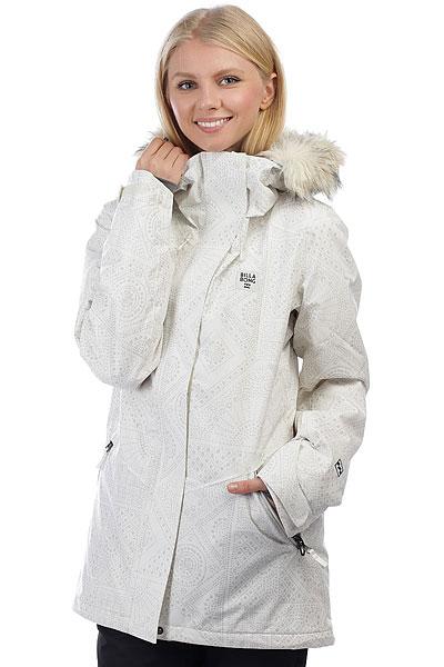 Куртка утепленная женская Billabong Diamond Dust Cool WipBILLABONG DIAMOND DUST - это максимально заряженная куртка для любых зимних условий. Самые современные технологии работают для того, чтобы Вы оставались в тепле и сухости несмотря ни на что. Фирменная ткань с показателями мембраны 15000 мм на 15000 гр/м2, высокий уровень утепления, проклеенные швы и юбка для защиты от снега - это лишь малая часть того, что содержит эта отличная куртка. Попробуйте и убедитесь сами - она способна выдержать и сильный мороз, и высокую влажность.Характеристики:Крой:Tailored Fit.Материал:Twill.Мембранная дышащая ткань с показателем 15000 мм / 15000 г/м2.Утеплитель:Primaloft® Black Eco(65 г туловище, 65 г рукава). Подкладка из тафты с трикотажными вставками. Проклеенные швы. Капюшон с двойной регулировкой.Внутренний карман. Внутренний сетчатый карман для маски.Утягивающийся подол. Фиксированная снегозащитная юбка. Два кармана для рук с подкладкой на молнии. Вентиляционные сетчатые карманы на молнии в подмышках. Регулируемые манжеты на липучках. Карман на молнии для ски-пасса на рукаве. Нашивка с фирменным логотипом.<br><br>Цвет: белый,серый<br>Тип: Куртка утепленная<br>Возраст: Взрослый<br>Пол: Женский